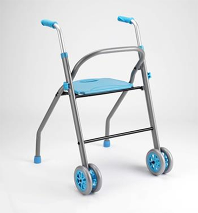 Rollator with seat inside-outside