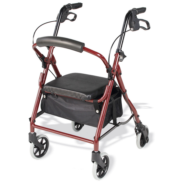 Folding walker with wheels, seat, brakes and basket. Ideal for short people.